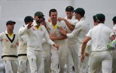 Australia players celebrate a series victory in the Ashes after defeating England in the third Test at the WACA in Perth on 18 December, 2017. Picture: AFP