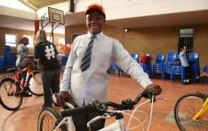 Learners at Thembihle High school in Khayelitsha, were treated to their first ever bike ride at the launch of the Bicycle Mayor program at their school today. Picture: Bertram Malgas