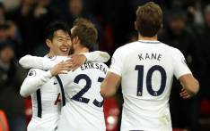 Tottenham players celebrate a goal. Picture: @SpursOfficial/Twitter