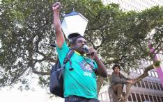 FILE: Lawson Naidoo of Save South Africa addresses a crowd outside Parliament at an anti-Zuma March. Picture: Cindy Archillies/EWN