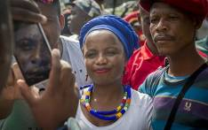 """DA spokesperson Phumzile van Damme poses for a picture with a protestor at the """"Day of Action"""" march against the leadership of President Jacob Zuma held in Pretoria on 12 April 2017. Picture: Reinart Toerien/EWN"""