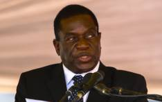 This file photo taken on 7 January 2017 shows Zimbabwe vice-president Emmerson Mnangagwa speaking during the funeral ceremony of Peter Chanetsa at the National Heroes Acre in Harare. Picture: AFP