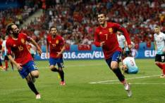 FILE: Spain forward Alvaro Morata (#7) celebrates his goal against Turkey in the Euro 2016 Group D on 17 June 2016. Picture: Facebook.