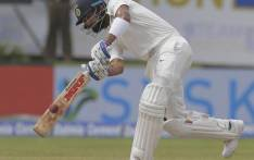 India strike early as Sri Lanka chase 550. Picture: Twitter @cricketfeeds_
