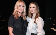 Designers Keren Craig (L) and Georgina Chapman pose backstage for the Marchesa fashion show during New York Fashion Week: The Shows at Gallery 1, Skylight Clarkson Sq on 13 September 2017 in New York City. Picture: AFP.