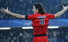 Paris St Germain's Edison Cavani celebrates after scoring during a Uefa Champions League on 11 March 2015. Picture: PSG.fr