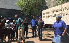 DA leader Mmusi Maimane greeting supporters at the old Johannesburg Stock Exchange in Newtown. Picture: Tebogo Tshwane/EWN.