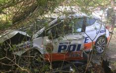 A JMPD vehicle is seen after a crash in Victory Park. Picture: Facebook.