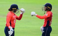 England batsman Tammy Beaumont (left) celebrates her century. Picture: @OfficialCSA/Twitter