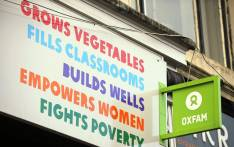 The logo on the front of an Oxfam bookshop is photographed in Glasgow on 10 February 2018. Picture: AFP.
