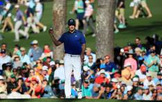 Jordan Spieth of the United States reacts to his birdie on the 15th green during the third round of the 2017 Masters Tournament at Augusta National Golf Club on 8 April, 2017 in Augusta, Georgia. Picture: AFP.