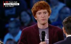 A screengrab of Stoneman Douglas High School senior Ryan Deitsch at a town hall meeting.