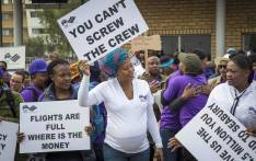 SAA staff protested against low wages outside the SAA Administration offices at OR Tambo Airport. Picture: Thomas Holder/EWN