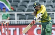 South Africa's Sune Luus powers her shot to the boundary. Picture: @OfficialCSA/Twitter