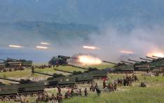 This undated photo released by North Korea's official Korean Central News Agency (KCNA) on 26 August, 2017 shows rockets being launched by Korean People's Army (KPA) personnel during a target strike exercise at an undisclosed location in North Korea. Picture: AFP