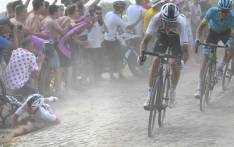 A rider crashes during stage 9 of the Tour de France on 15 July 2018. Picture: @LeTour/Twitter
