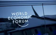 A chapel is reflected on the side of a World Economic Forum shuttle bus in Davos, Switzerland on 18 January 2017. PIcture: Reinart Toerien/EWN.