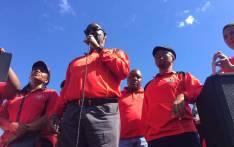 Trade unionist Zwelinzima Vavi addressing anti-minimum wage protesters in Cape Town. Picture: @Numsa_Media/Twitter