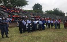 Police Minister Fikile Mbalula addressed Vanderbijlpark officers at the Shakespeare Stadium. Picture: Mia Lindeque/EWN.