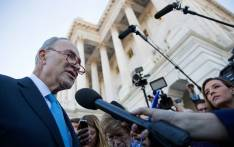 Senate Minority Leader Chuck Schumer speaks briefly with reporters after returning to the US Capitol after meeting with US President Donald Trump on the looming threat of a federal government shutdown January 19, 2018 in Washington, DC. Picture: AFP.