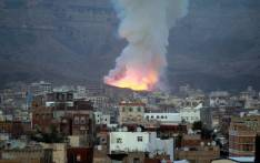 FILE: Smoke billows following an air-strike by Saudi-led coalition on 11 May 2015 in the Yemen capital of Sanaa. Picture: AFP.