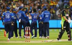Sri Lankan players celebrate a wicket during their match against Australia in Geelong. Picture: Twitter/@ICC.