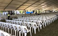 A marquee is set up at the Westpark Cemetery for Ahmed Kathrada's funeral. Picture: Ziyanda Ngcobo/EWN