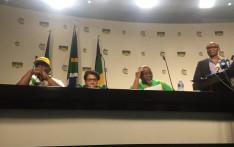 From L-R ANCYL's Njabulo Nzuza, Jessie Duarte, Gwede Mantashe and Zizi Kodwa. Picture: Clement Manyathela/EWN.