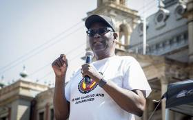 FILE: Former Congress of South African Trade Unions (Cosatu) general secretary Zwelinzima Vavi addresses members of the public outside national treasury in Pretoria on 3 March 2017 over their dissatisfaction with President Jacob Zuma's latest cabinet reshuffle. Picture: Reinart Toerien/EWN.