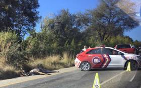 Paramedics at the accident scene where a biker was killed after colliding with a Kudu. Picture: Christa Eybers/EWN