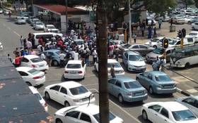 Uber drivers blocking 7th Avenue in Parktown with their cars. Picture: Supplied.