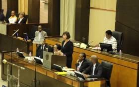 Gauteng Finance MEC Barbara Creecy delivering her Medium-Term Budget in the Legislature. Picture: @GautengProvince/Twitter.