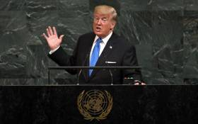 US President Donald Trump addresses the 72nd Annual UN General Assembly in New York on September 19, 2017. Picture: AFP.