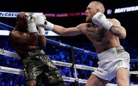 US boxer and undefeated boxing chmapion Floyd Mayweather during his fight with Conor McGregor in Las Vegas. Picture: Screengrab.