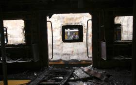 At least two train coaches were torched and several shops were damaged by angry commuters at Cape Town Station. Picture: Cindy Archillies/EWN