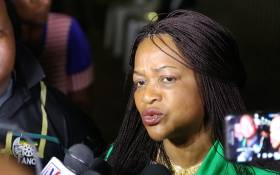 ANC chairperson Baleka Mbete speaks to journalists on the sidelines of the party's national conference on 16 December 2017. Photo: Sethembiso Zulu/EWN