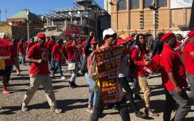 Striking South African Federation of Trade Unions members march through streets of Newtown as they prepare to march to the office of the Premier in Joburg CBD on 25 April 2018. Picture: EWN