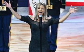 Singer Fergie sings the national anthem prior to the 67th NBA All-Star Game: Team LeBron Vs. Team Stephen at Staples Center on 18 February 2018 in Los Angeles. Picture: AFP