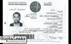 This image shows a copy of Duduzane Zuma's residency visa issued by the UAE in 2015. Picture: amaBhungane/Scorpio