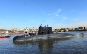 Handout picture taken in 2014 and released by the Argentine Navy on 18 November showing submarine ARA San Juan docked in Buenos Aires. Picture: AFP.