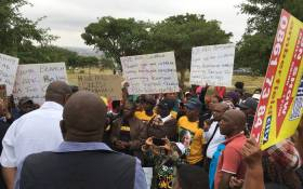 Community members from Olievenhoutbosch gathered outside a local church to share their service delivery concerns with President Cyril Ramaphosa on 11 March 2018. Picture: Pelane Phakgadi/EWN.