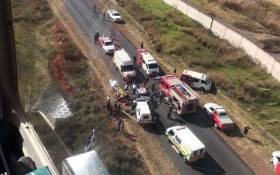 Emergency services and paramedics attending to the injured on the R554 after a head-on collision. Picture: ER24.