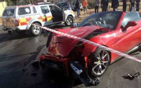 The Ferrari accident on 11th Avenue and Marie Street in Parkmore. Picture: iWN