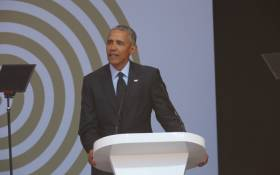 Former US president Barack Obama speaks at the 16th Nelson Mandela Annual Lecture at the Wanderers Cricket Stadium. Picture: Christa Eybers/EWN
