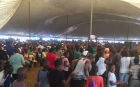 Vuwani residents sing and chant while waiting President Jacob Zuma's address. Picture: Pelane Phakgadi/EWN.