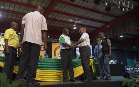 Former ANC president Jacob Zuma greets his successor Cyril Ramaphosa after the ANC's top six announcement on 18 December 2017. Picture: Ihsaan Haffejee/EWN