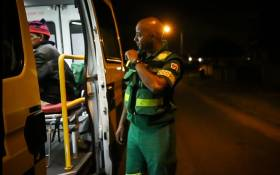 Dimitri Beukes reports a new patient to control room in Tygerberg. Beukes is a paramedic who has been attacked in a recent assault against EMS staff. Picture: Anthony Molyneaux/EWN