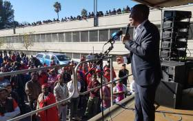 EFF leader Julius Malema addresses his supporters outside the Newcastle magistrates court on 25 June 2018. Picture: @EFFSouthAfrica/Twitter