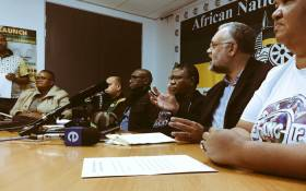 The ANC's elections head Fikile Mbalula (C) announces the Western Cape's head of elections on 23 April 2018. Picture: Babalo Ndenze/EWN