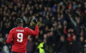 Manchester United's Romelu Lukaku celebrates a goal against Huddersfield Town during their FA Cup clash. Picture: @ManUtd/Twitter.